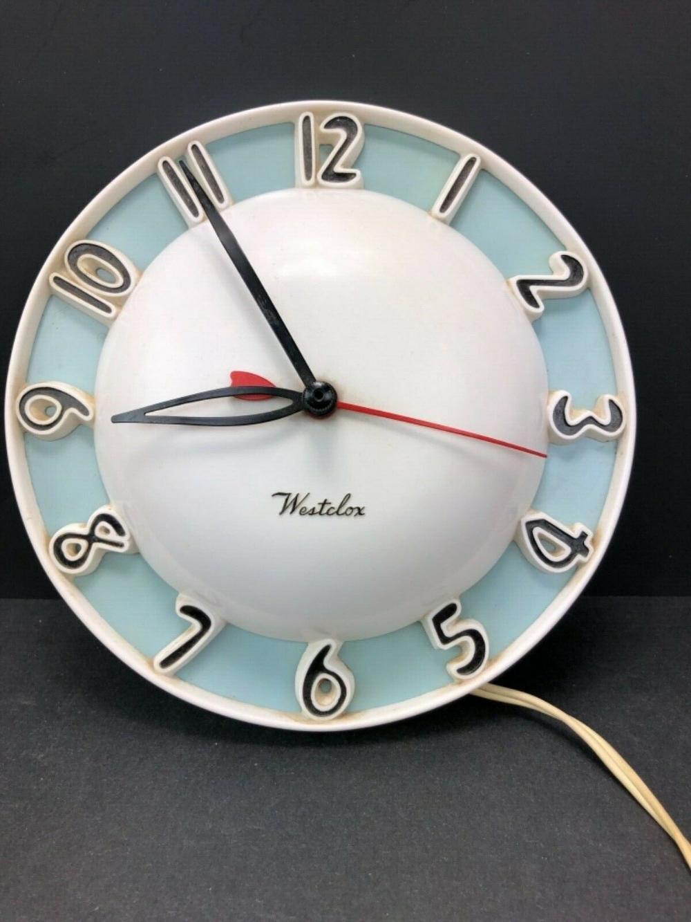 westclox melody mid century 1950s wall clock kitchen blue on wall clocks id=25390