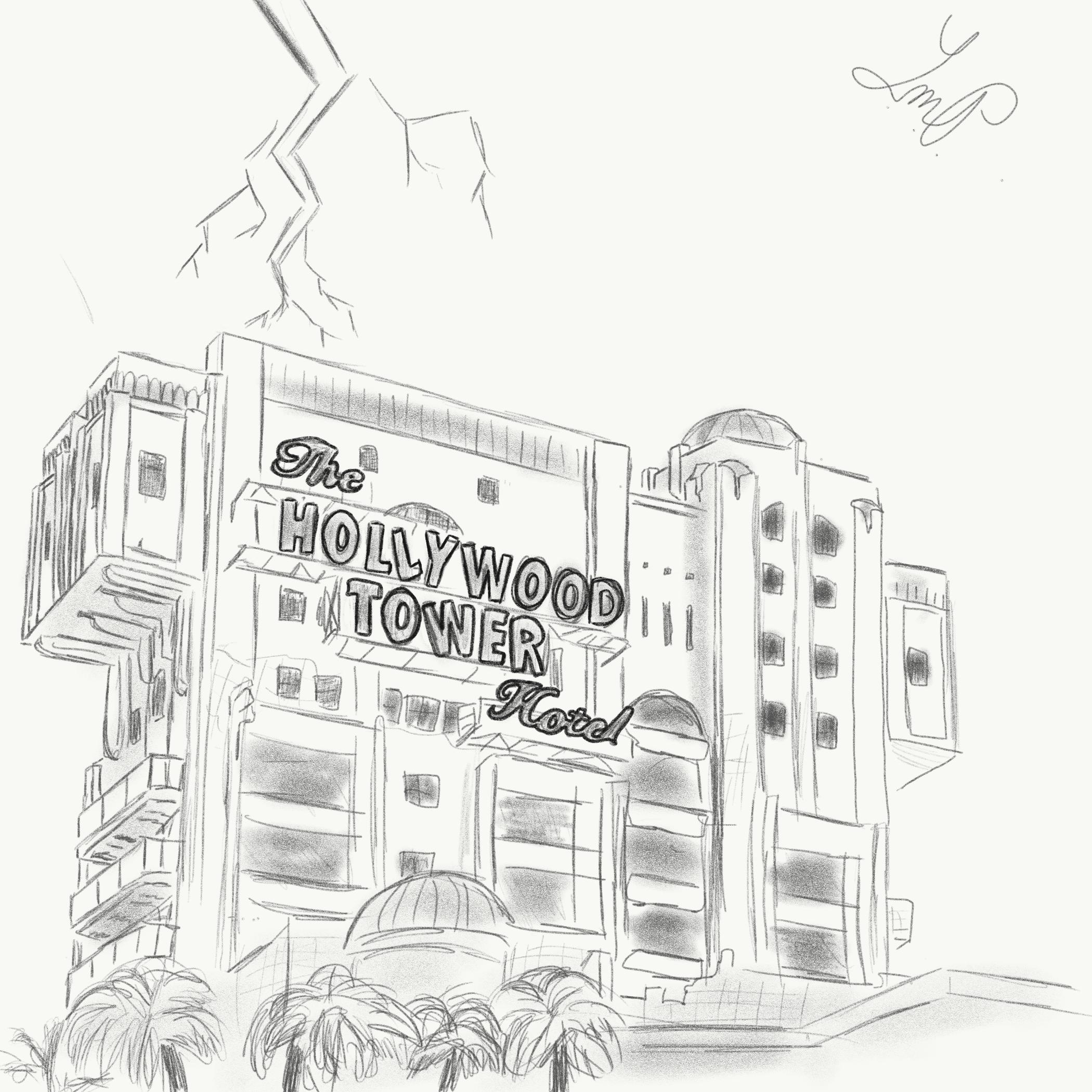 Tower of Terror Building Watercolor Print Watercolor Sketch