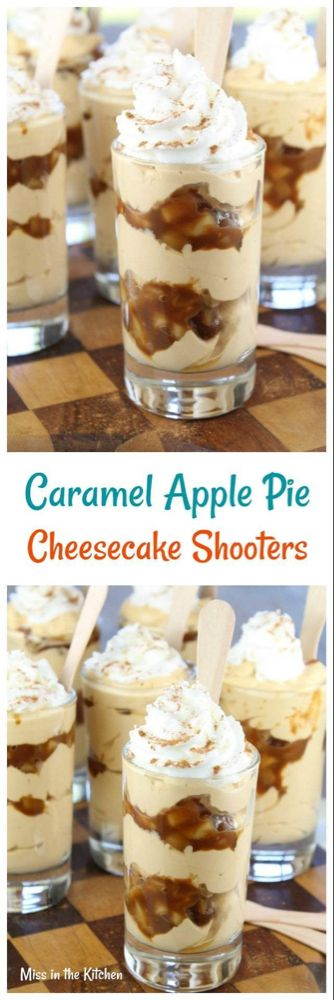 Caramel Apple Pie Cheesecake Shooters #dessertshooters