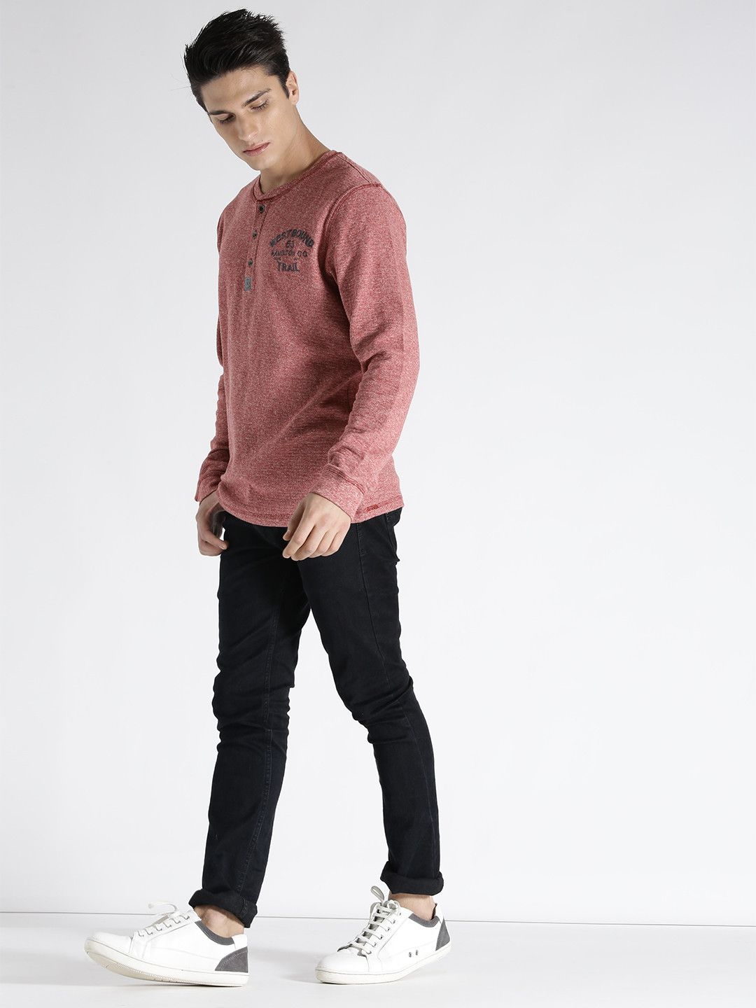 S Oliver Coral Red Solid Henley Neck T Shirt Mens Outfits Shirt Online Neck T Shirt