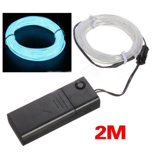 SODIAL(R) 2M Light Green Flash Flexible Neon Light Glow El Strip ...