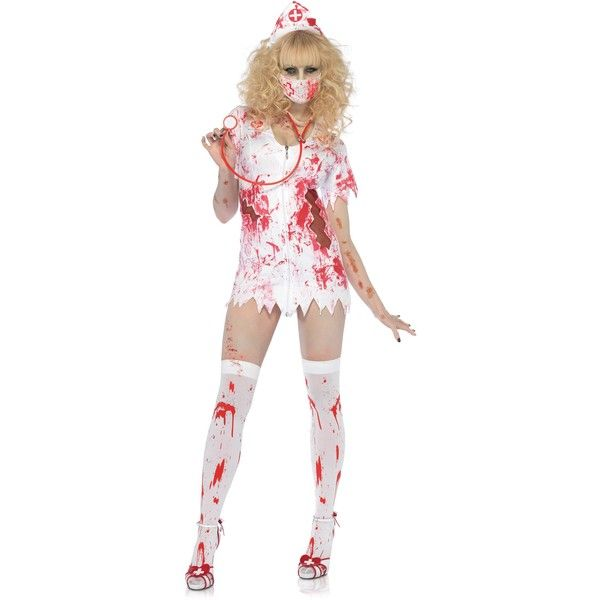 Bloody Nurse Zombie Costume ($45) ❤ liked on Polyvore featuring - zombie halloween ideas