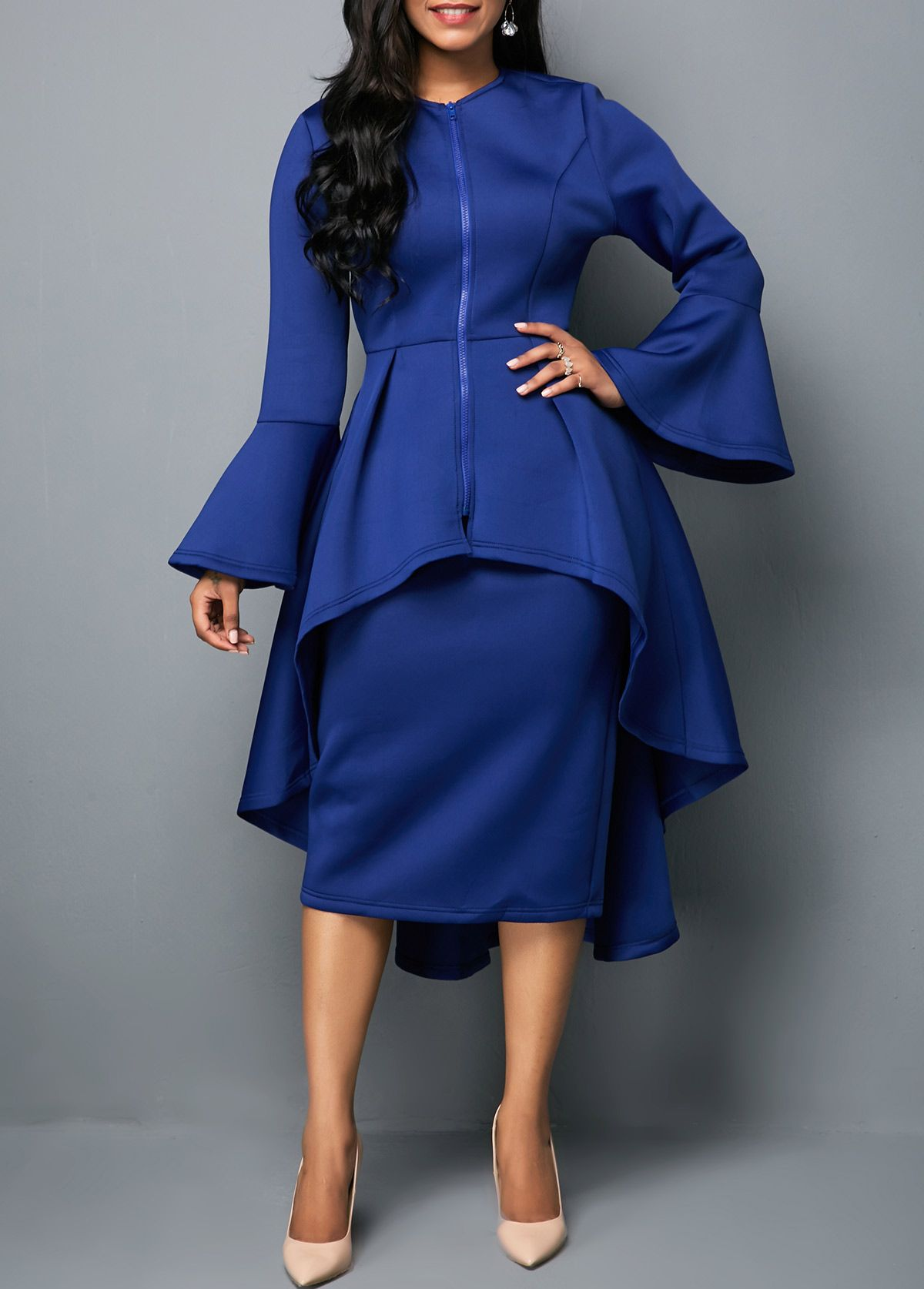 One shoulder top and belted high waist skirt ray for