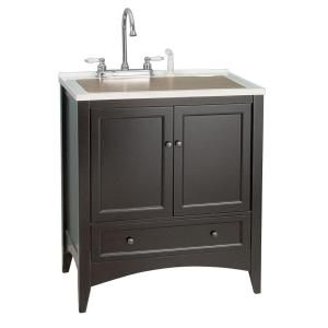 Laundry Vanity In Espresso And Premium Acrylic Sink In White And Faucet