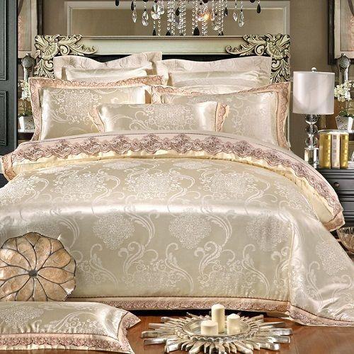 Jacquard Luxury Gold Lace Duvet Cover 6pcs Bedding Set King Amp Queen Size Home Amp Garden Bedding Luxury Bedding Sets Luxury Bedding Bed Linens Luxury