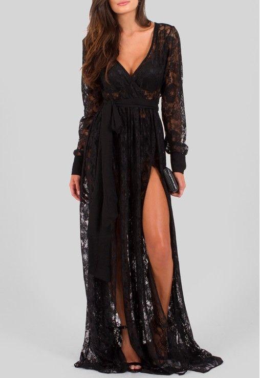 19b17fabe POWERLOOK - Aluguel de Vestidos Online - Vestido Adriana longo todo em  renda transparente com fendas