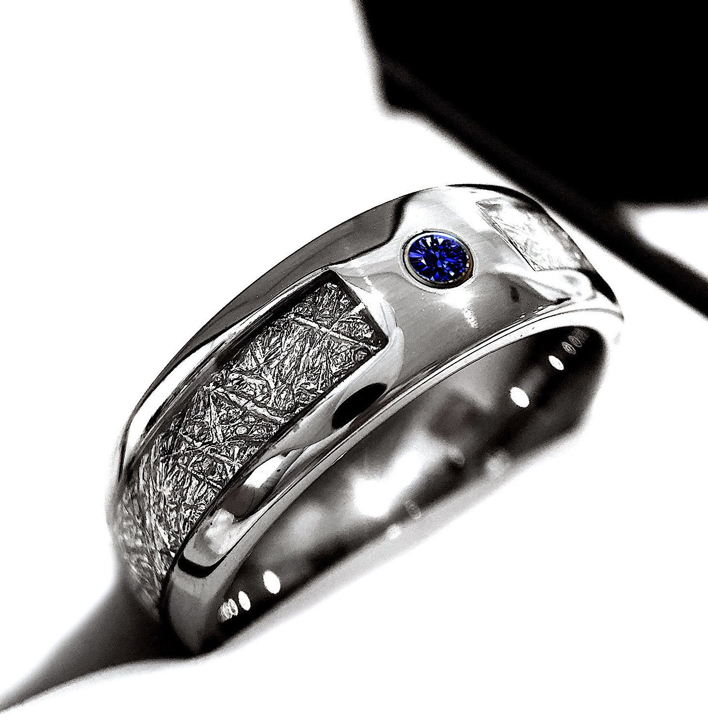 Meteorite Inlay Tungsten Ring Blue Sapphire Stone Setting