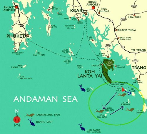 Koh Lanta Koh Ngai and other islands in Southern Thailand Map