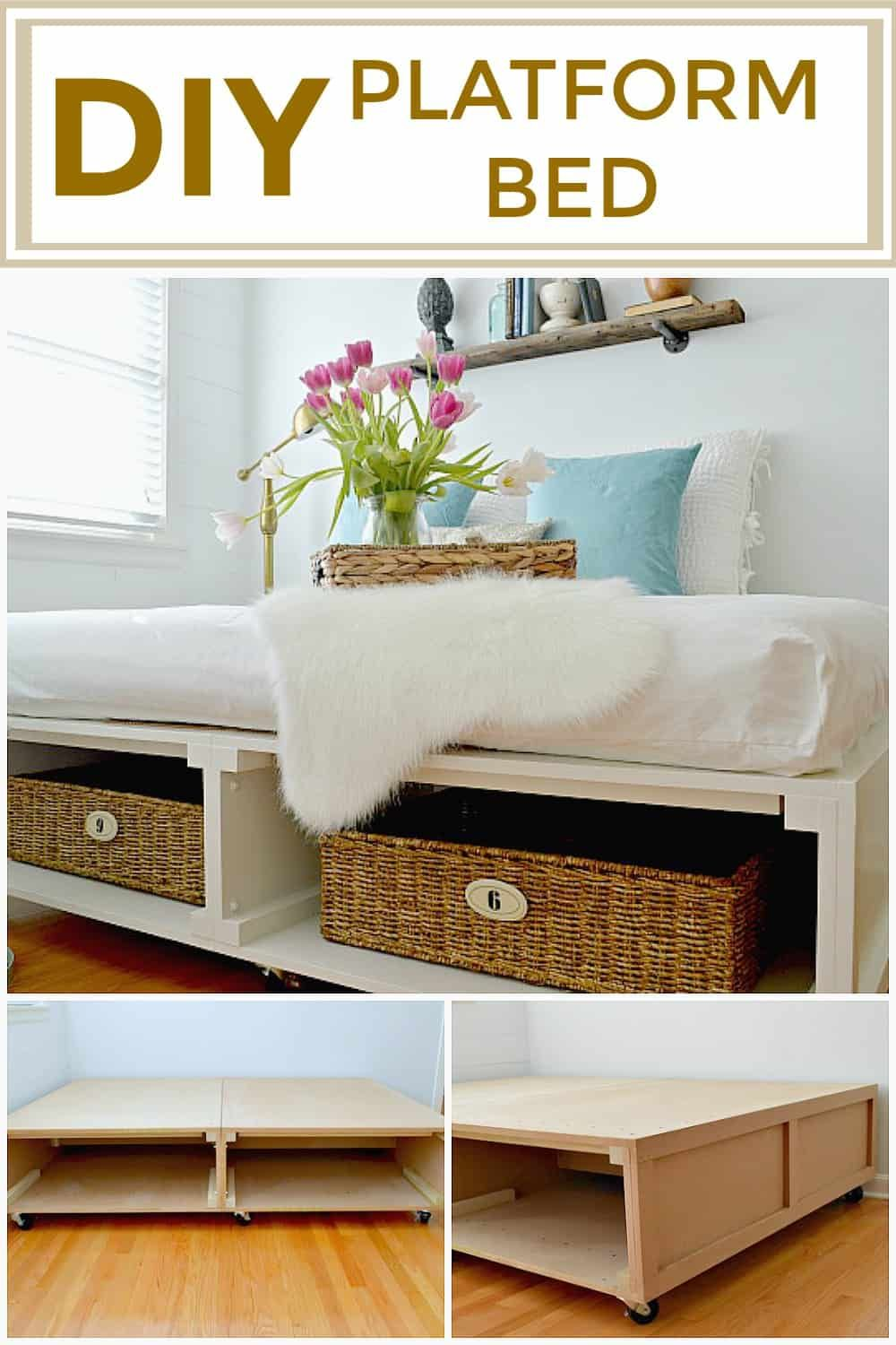 How to build a DIY platform bed frame with storage for a