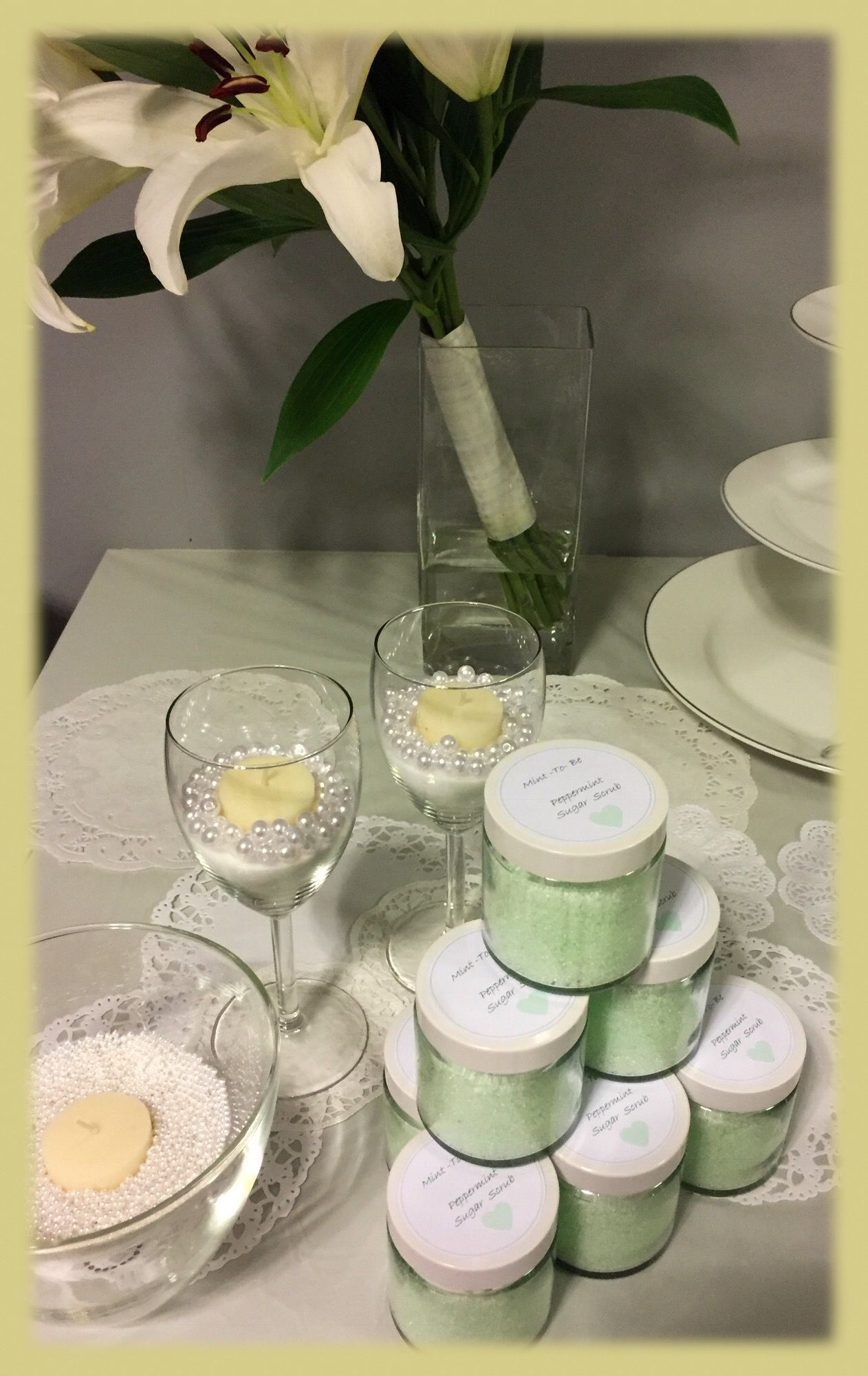 """Table deco - """"Pearl-y"""" deco's for a 30th wedding ..."""