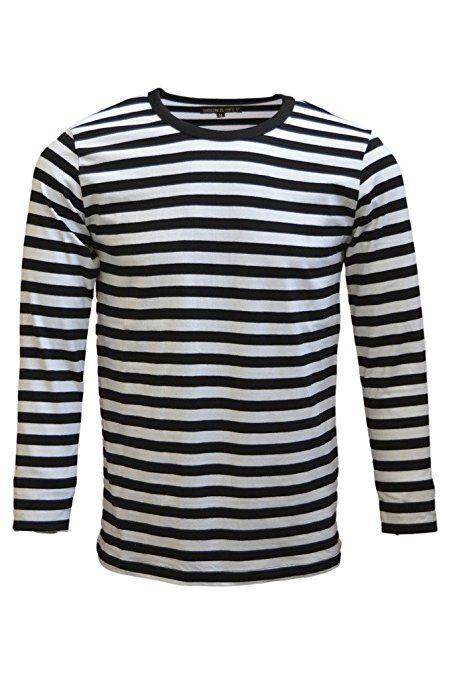3bccd4a5 Mens 60's Retro Black & White Striped Long Sleeve T Shirt Small ...