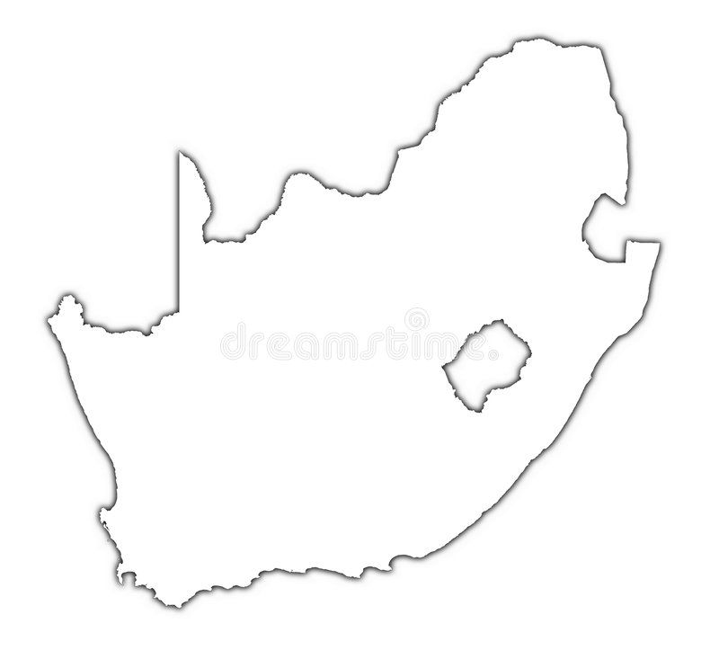 Outline Map Of South Africa South Africa map with shadow. South Africa outline map with shadow