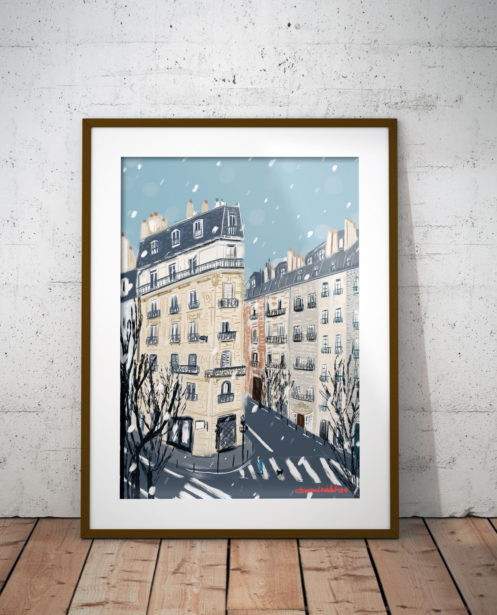 Photo of Paris Street Scene Winter illustration|Winter Poster Print|Paris in Winter Snow Poster