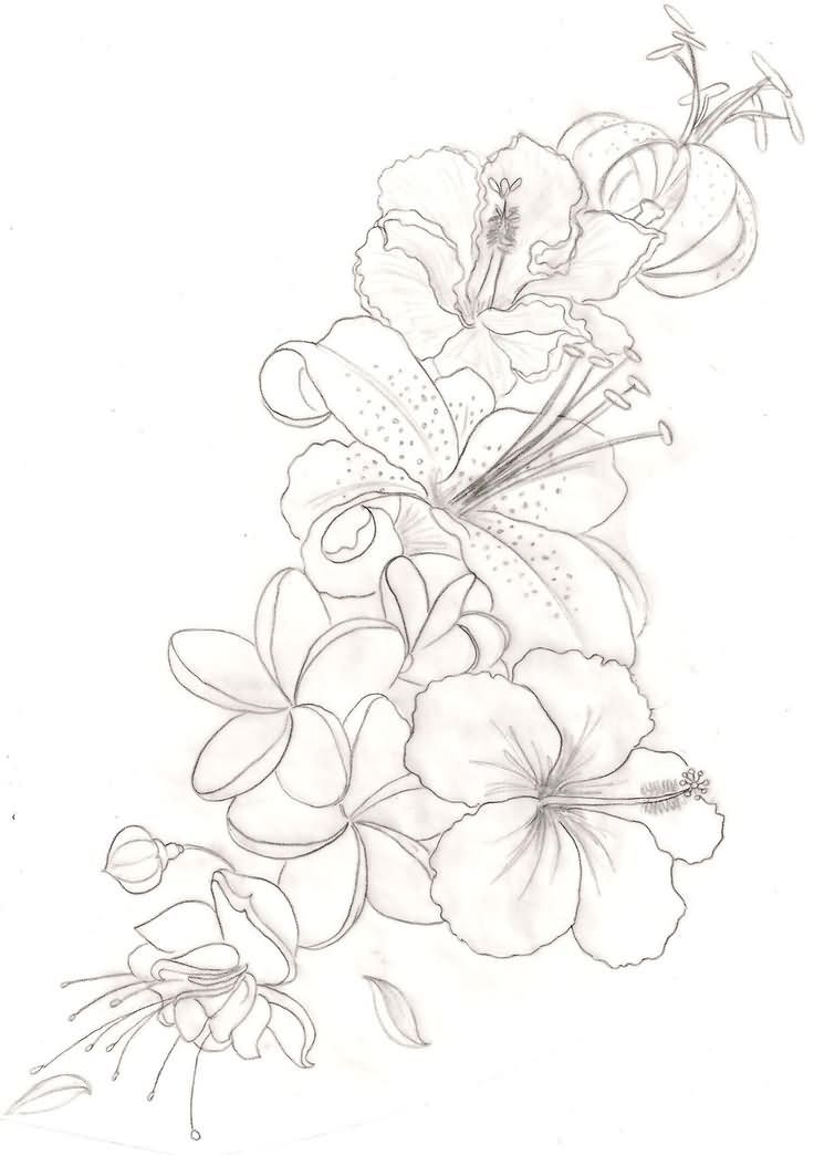 Hibiscus Tattoo Drawing: Outline Orchid Flower Tattoos Design