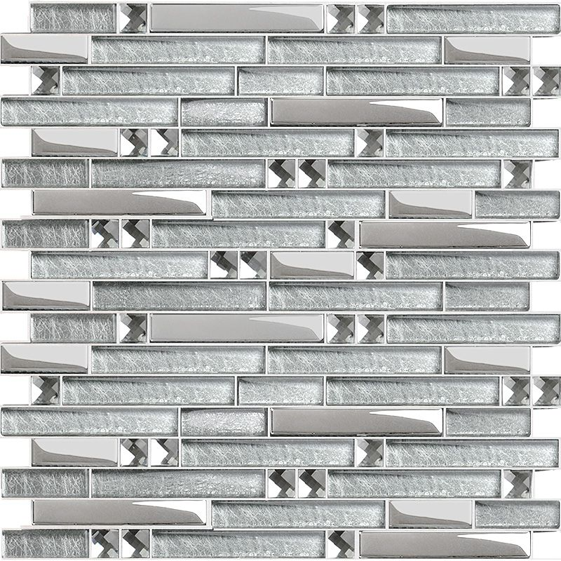 Silver Metal Plated Glass Tiles For Kitchen Backsplash Mosaic Tile