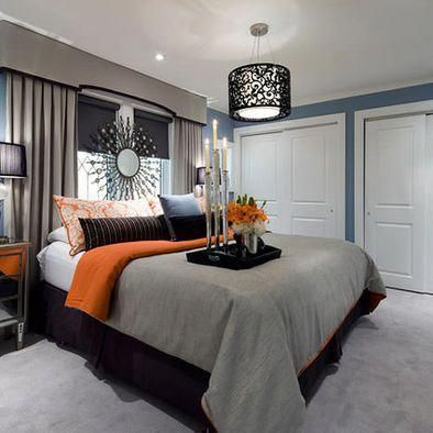 Blue/Gray/Orange bedroom minus the wall burst and replace lighting with recessed #graybedroomwithpopofcolor Blue/Gray/Orange bedroom minus the wall burst and replace lighting with recessed #graybedroomwithpopofcolor