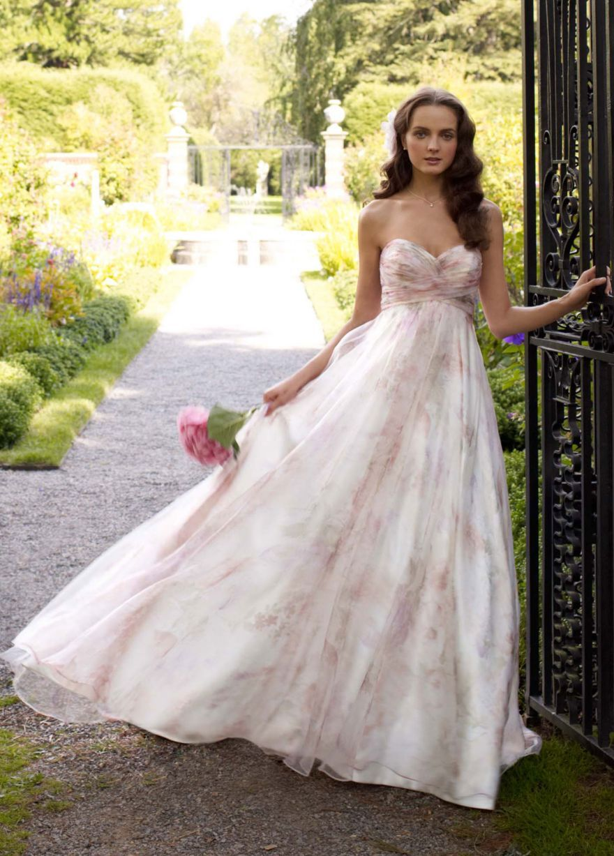 735cc54a669 Strapless printed organza A-line gown. Style number T3267 at David s Bridal.