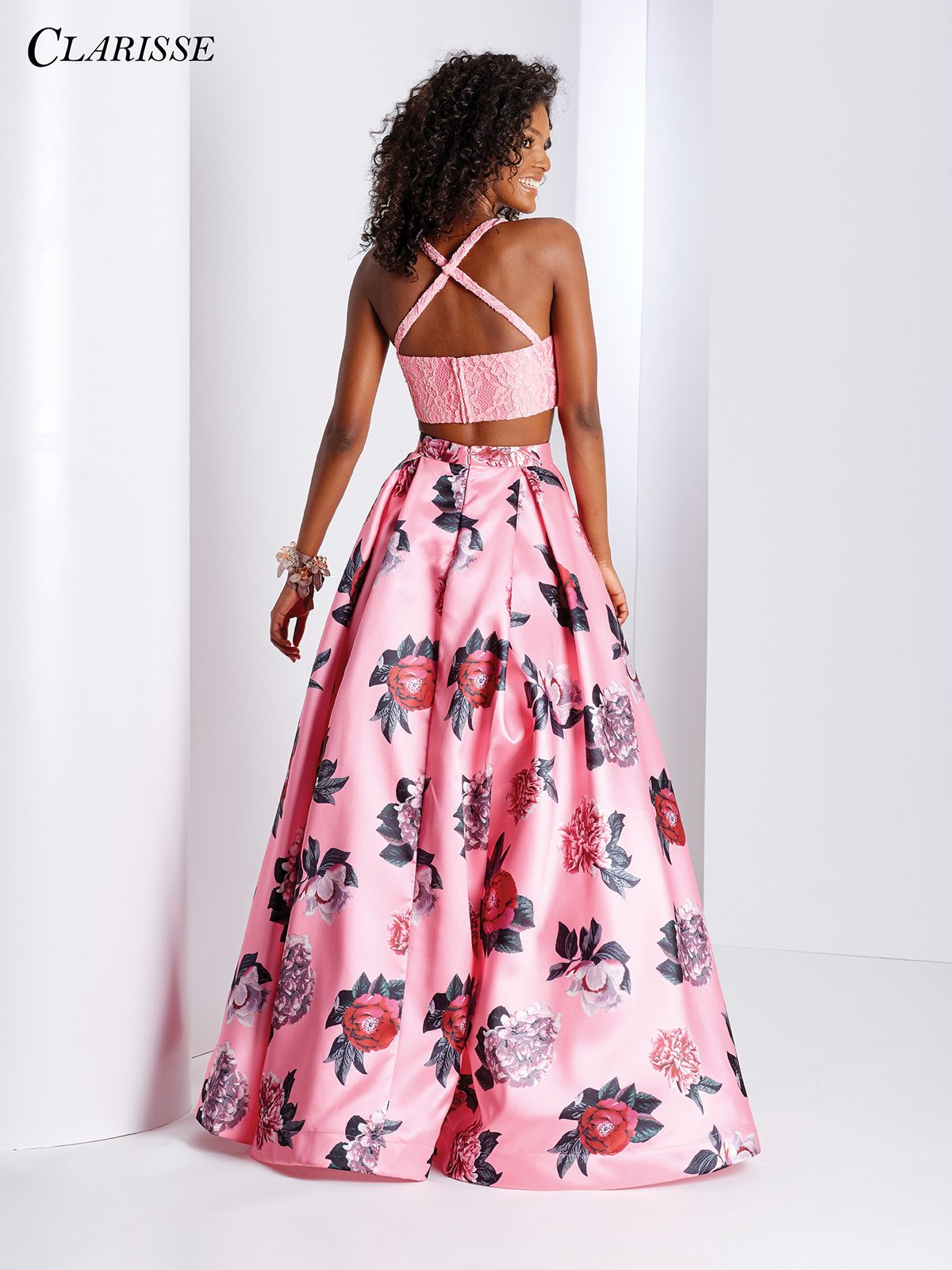 Floral Print Two Piece High Low Dress 3420 | Prom 2018 | Pinterest