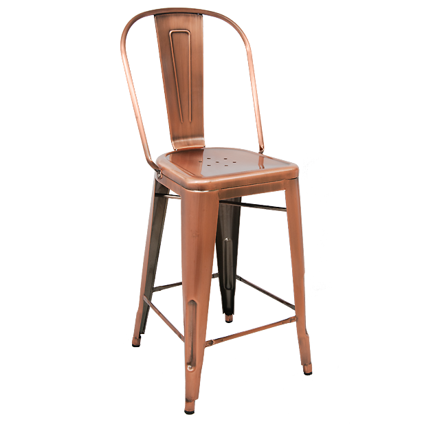 Bistro Style Metal Bar Stool In Copper Finish Metal Bar Stools Restaurant Bar Stools Bar Stools