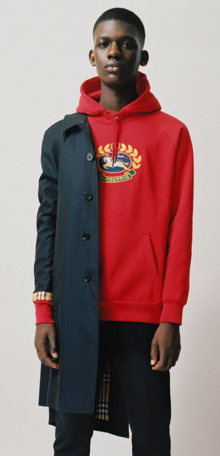 A Burberry Hoodie In Loop Back Jersey Embroidered With An Archive Crest Originally Found On Burberry Sweatsh Cool Street Fashion Hoodie Fashion Mens Outfits [ 1569 x 759 Pixel ]