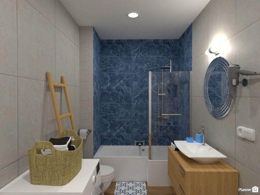 Bathroom Interior Blue Tile And Wood Planner 5d Bathroom
