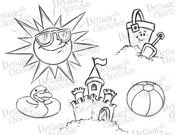 summer beach items sun with glasses  duck floaty