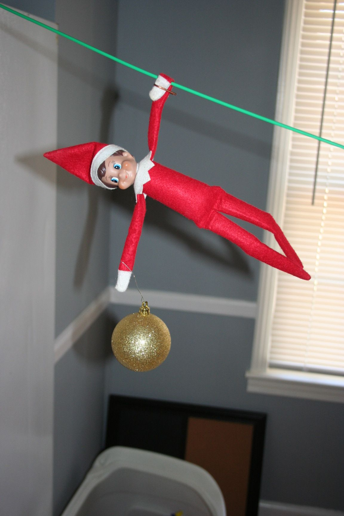 Elf on a Shelf Zip Lines to the Christmas Tree