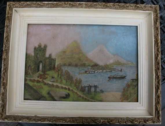 Antique Chalk Art Painting Drawing Water by BluebirdCreekVintage, $75.00