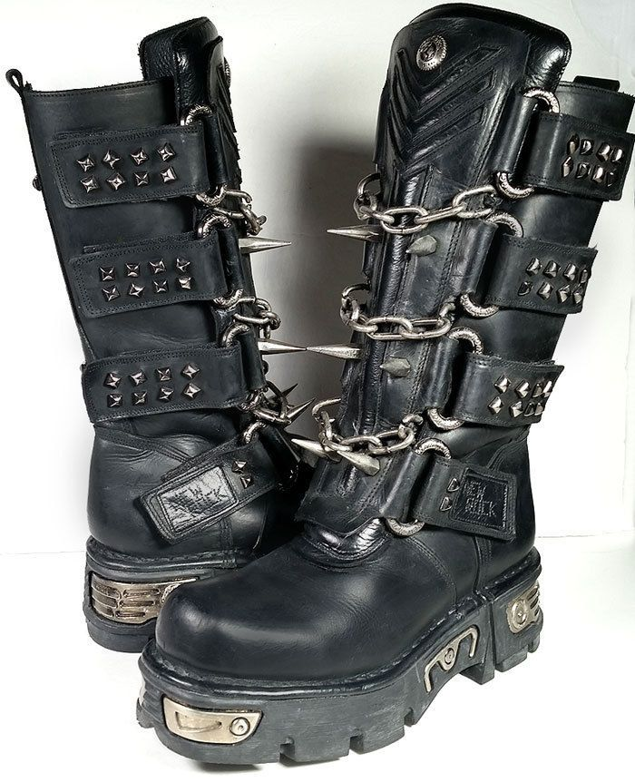 8da91a64d NEW ROCK BOOTS 41 New Rock Black Chains & Spikes Motorcycle Boots *  EXCELLENT* #NewRock #Motorcycle #goth