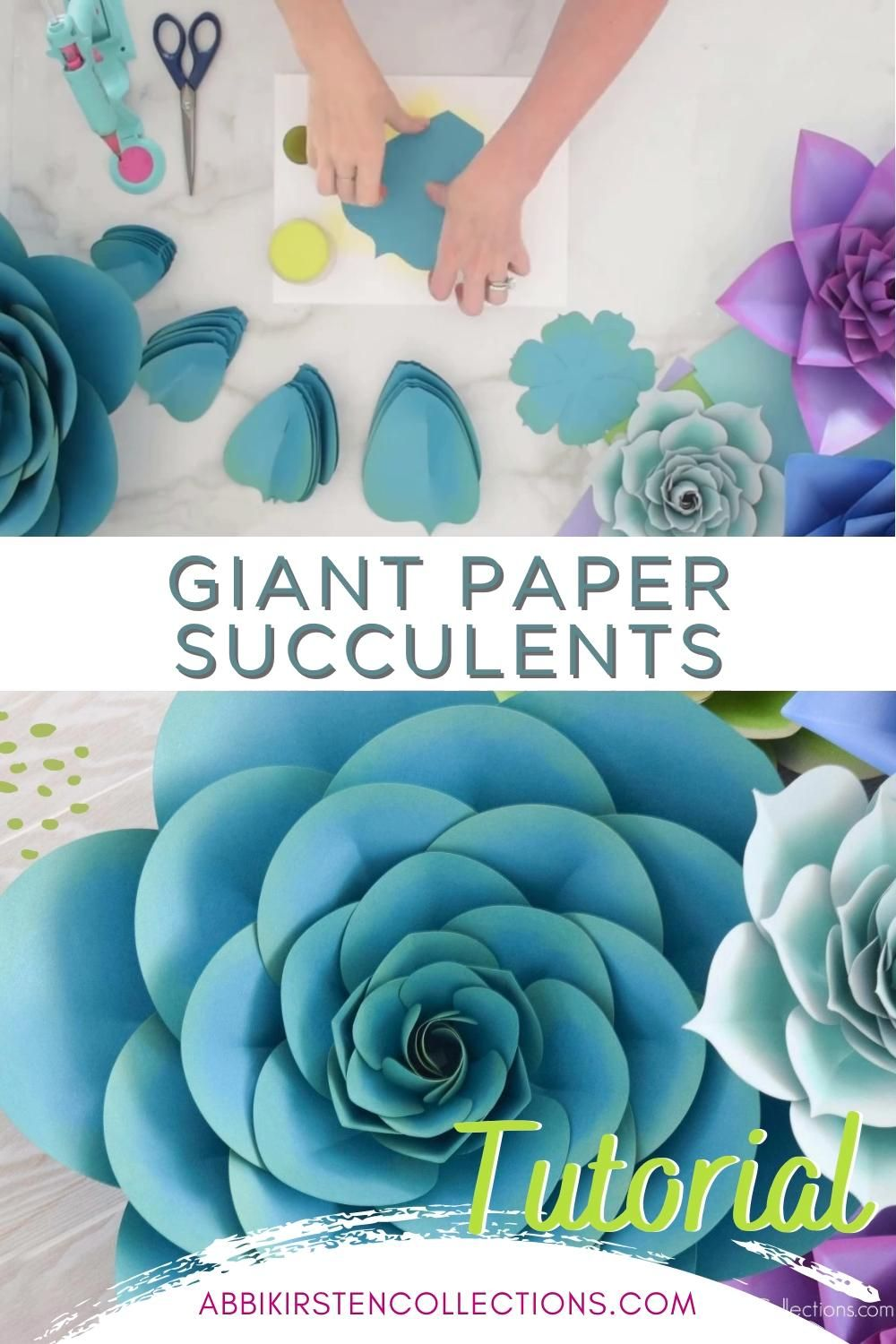 My new giant paper succulent templates come in both printable PDF and SVG cut files so you can easily hand-cut
