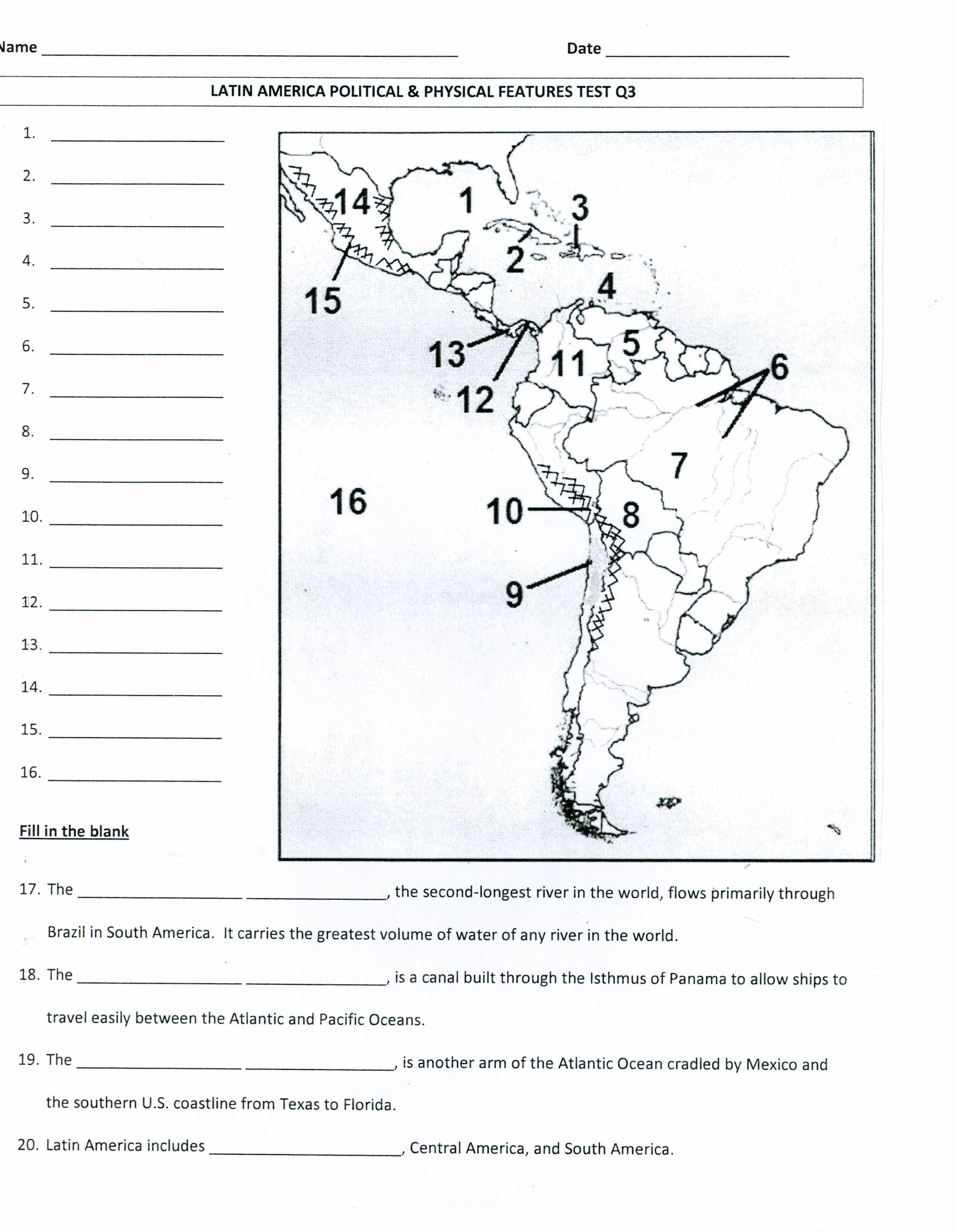 Central America Map Worksheets Maps For Continents Countries - Map of central america blank