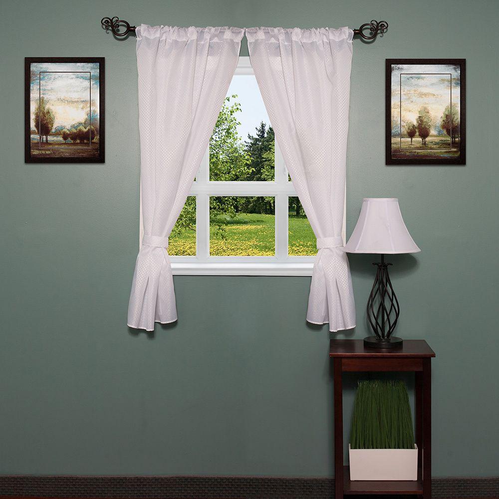 Elegant Subtle Diamond Pattern Bathroom Window Curtain Set