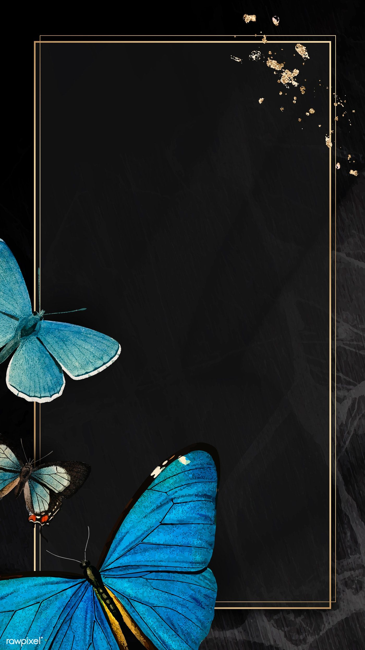 Download Premium Vector Of Gold Frame With Blue Butterflies Patterned Butterfly Wallpaper Iphone Butterfly Wallpaper Blue Butterfly Wallpaper