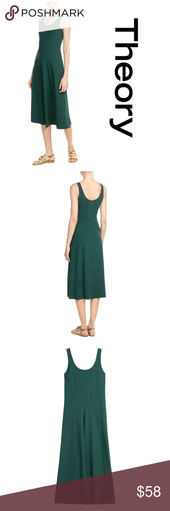Theory monola fine knit midi dress dark green xss euc theory monola