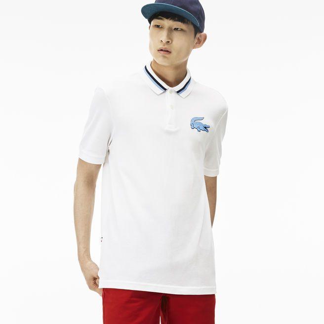 Polo Lacoste LIVE regular fit em algodão tricolor