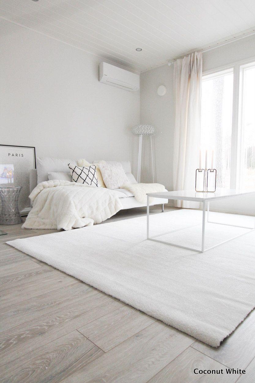 Olohuoneen uusi, valkoinen Hattara-matto | Coconut White