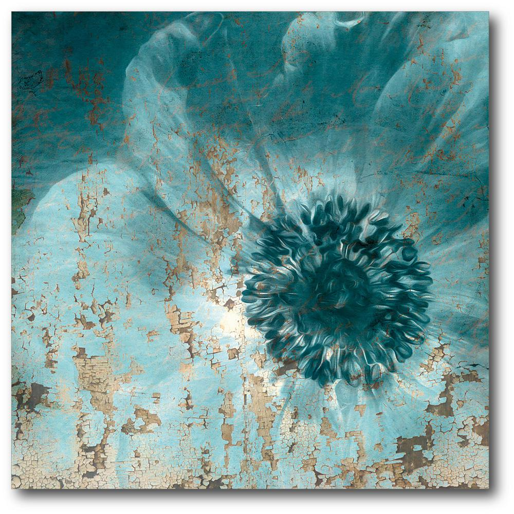 Unbranded 16in X 16in Teal Flower Wrapped Canvas Canvas Wall Art Web Sb161 The Home Depot Teal Wall Art How To Wrap Flowers Flower Canvas Wall Art