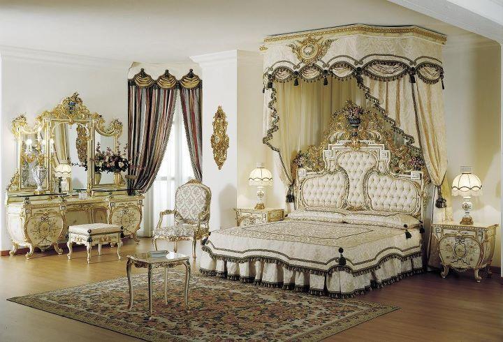 Chambre à coucher Royale Blanc cassé-Doré | Chambres à coucher ...
