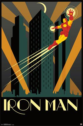 Print Of Iron Man Art Deco Superhero Posters And Prints Available At Barewalls Com Iron Man Art Art Deco Posters Prints Iron Man Poster