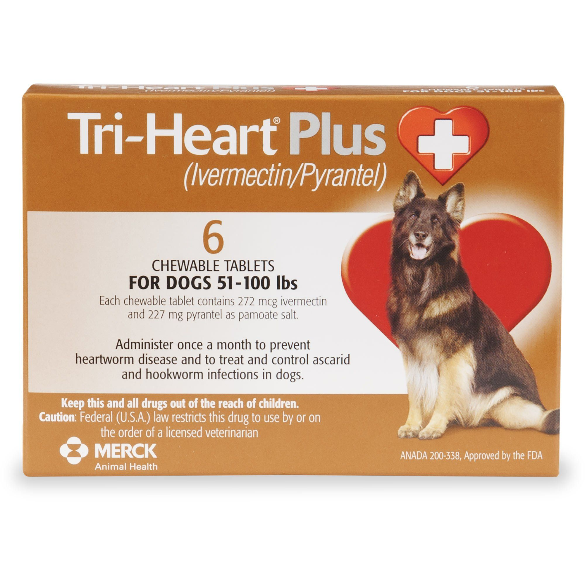 TriHeart Plus Chewable Tablets for Dogs 51 to 100 lbs., 6