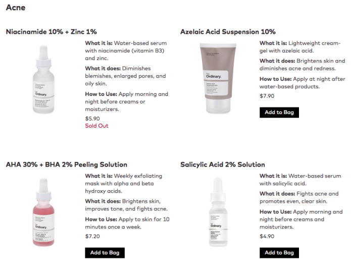 Ordinary Acne Skin Care The Ordinary Products Skin