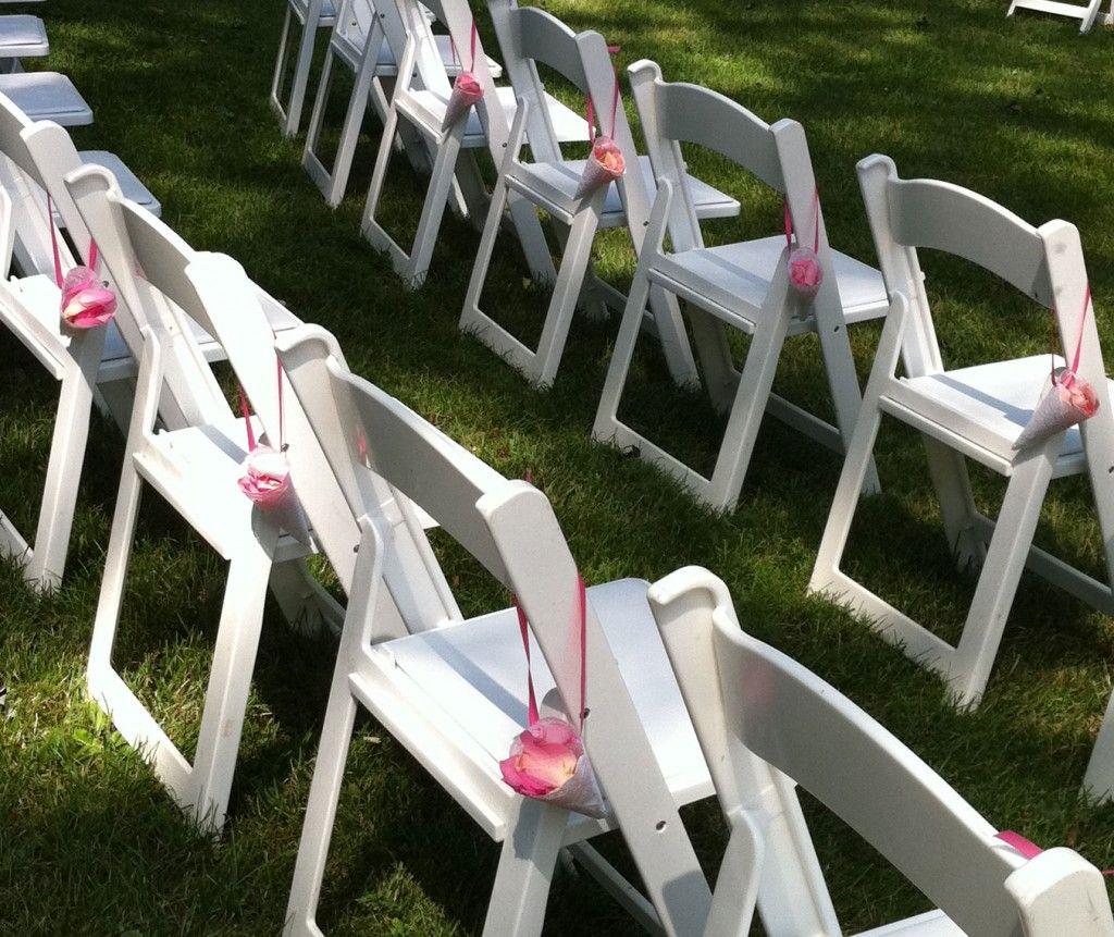 Wedding chair decorations diy  Rose Petal Cones  Saraus Wedding Finally Itus my turn bitches