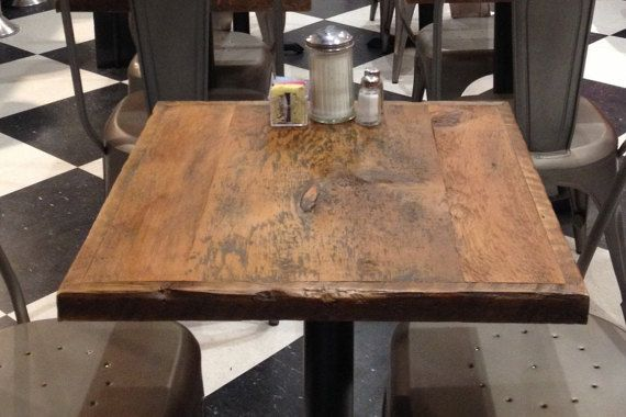 Dining Table Reclaimed Wood Top Pub Tables Bar Restaurant Add Your Base