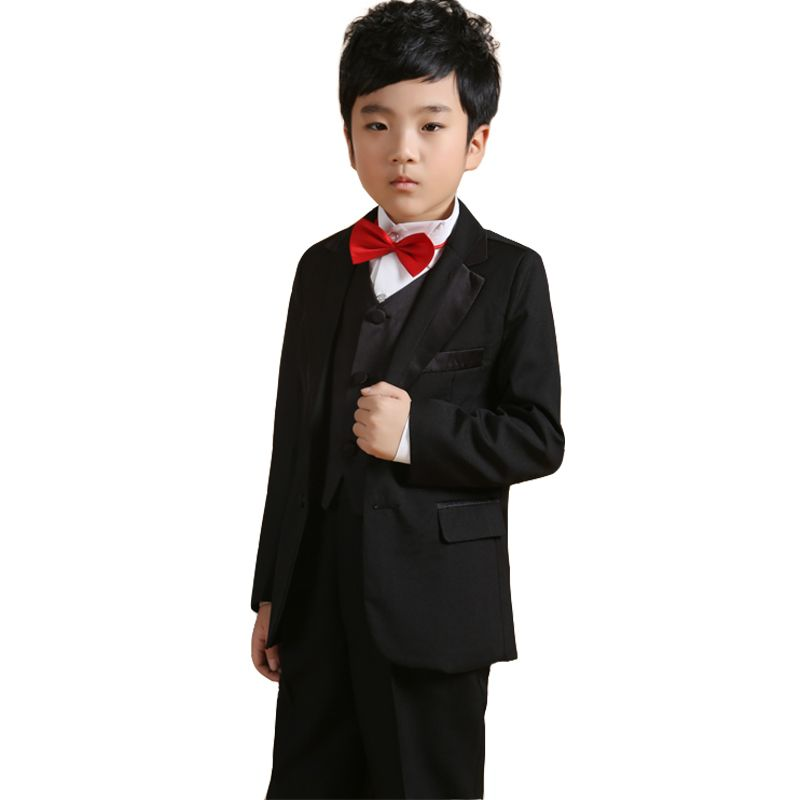 Page Boy Outfits Kids Black Wedding Suits Jacket Vest Shirt ...