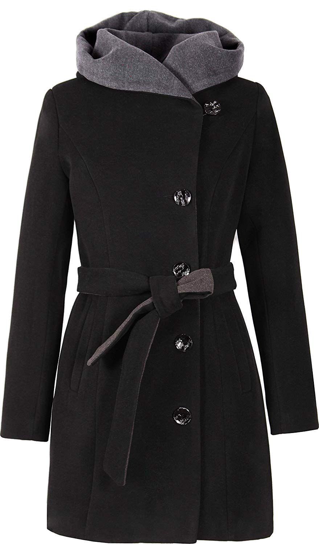 großem Damen mit Mantel Schwarzer Kragen jSzMpqLGVU