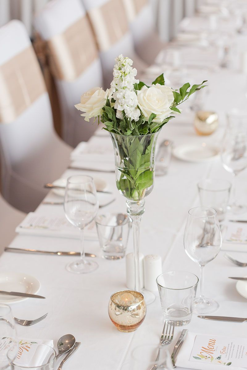 Tall Fluted Vase With White Fresh Flowers Long Tables Wedding