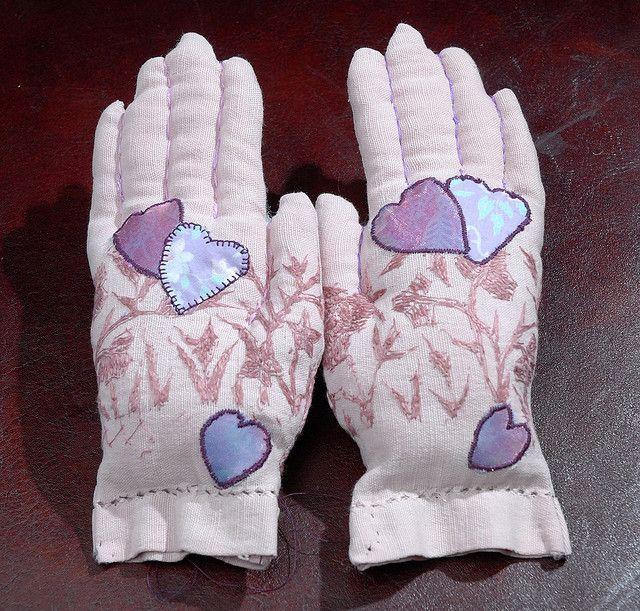 Embroidered Glove keepsake filled with lavender