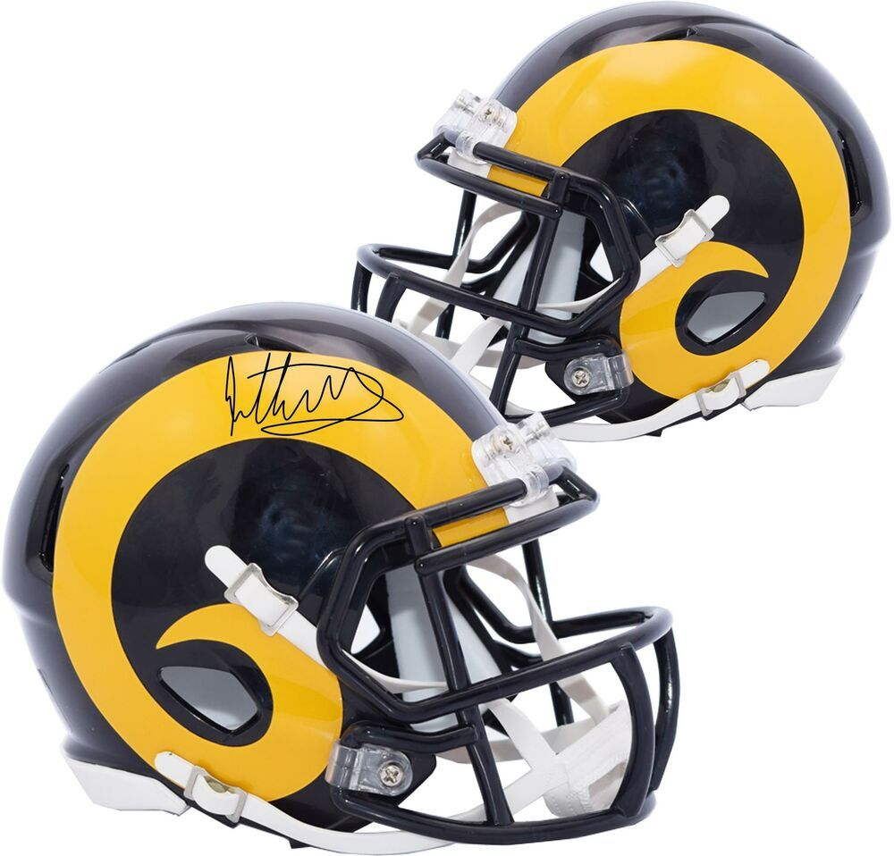 Todd Gurley Ii Los Angeles Rams Autographed Speed Throwback Mini Helmet Footballhelmet Sportsmemorabilia Autograph Football Helmets