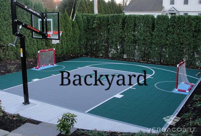 Basketball Volleyball And Soccer Court Field All In One Basketball Court Backyard Backyard Basketball Backyard Sports