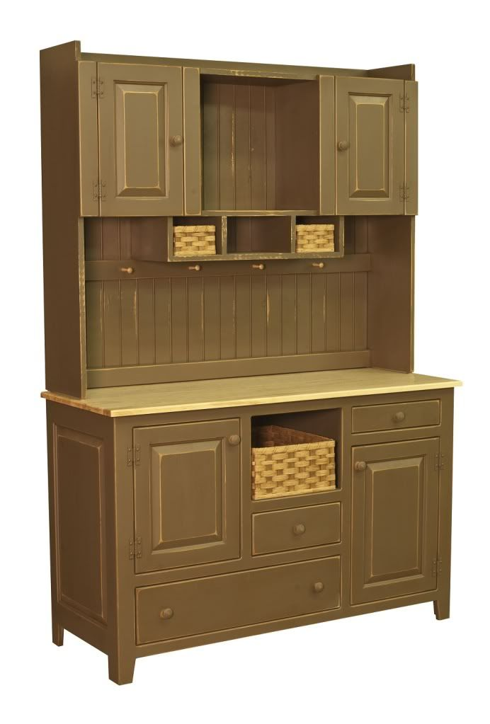 Amish Kitchen Hutch Pantry Cabinet Primitive Country Pine Wood